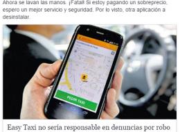Easy Taxi no sería responsable en denuncias por robo y por acoso.