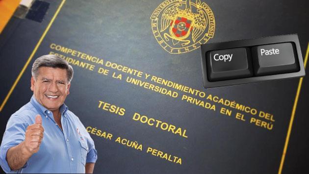 El presunto PLAGIO DE LA TESIS DE CÉSAR ACUÑA PERALTA en la UNIVERSIDAD COMPLUTENSE gracias a la labor del letrado Dr. José Manuel López Iglesias acabara en juicio penal.